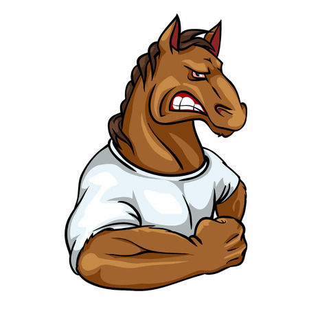 Horse mascot, team label design isolated on white