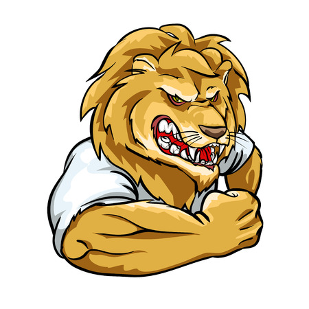 Lion mascot, team label design isolated on white