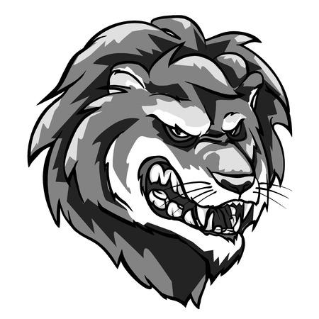 Lion mascot, monochrome team label design isolated on white