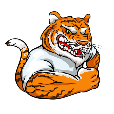 Tiger mascot, team label design isolated on white