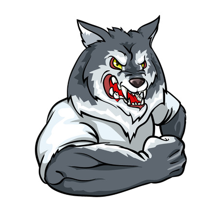 Wolf mascot, team label design isolated on white