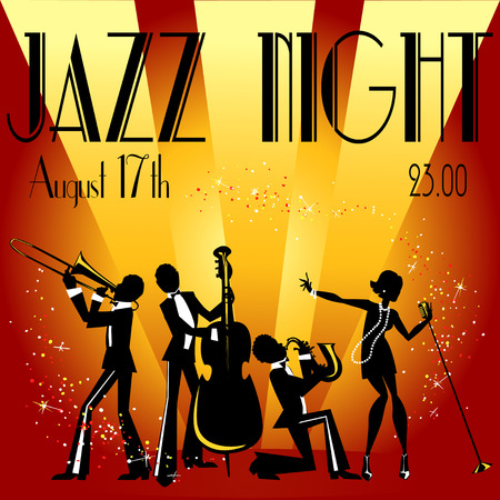 retro music: Abstract jazz band, Jazz music party invitation design, Vector illustration with sample text Illustration