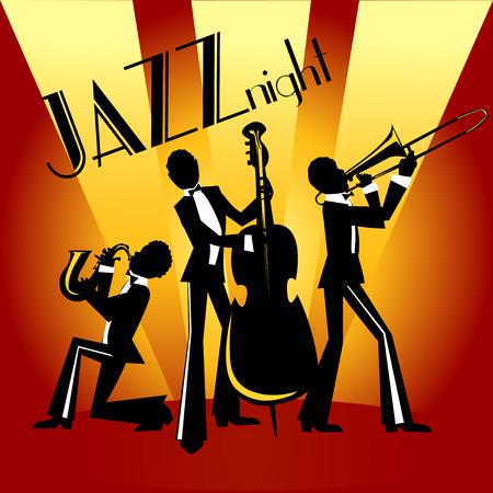 Abstracte jazz band, jazz muziek partij uitnodiging ontwerp, Vector illustratie met monster tekst