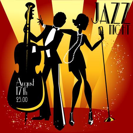 Abstrakte Jazz-Band, Jazz-Musik-Party Einladung Design, Vektor-Illustration mit Beispieltext Standard-Bild - 41728209