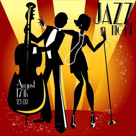 Abstract jazz band, Jazz music party invitation design, Vector illustration with sample text Vettoriali