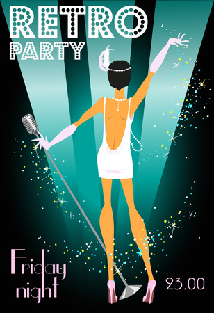 showgirl: Retro party invitation design with sample text, 1920s style