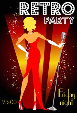 Retro-Party Einladung Design mit Beispieltext, Stil der 1950er Jahre Standard-Bild - 41728218