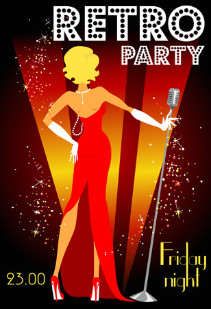 classic woman: Retro party invitation design with sample text, 1950s style