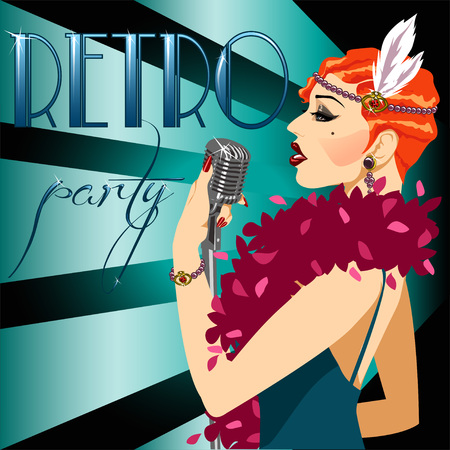 30s: 20s 30s style party nvitation with abstract singing woman and sample text. 1920s poster. Illustration