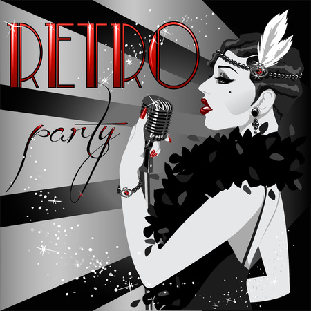 nostalgy: 20s 30s style party nvitation with abstract singing woman and sample text. Black and White 1920s poster.