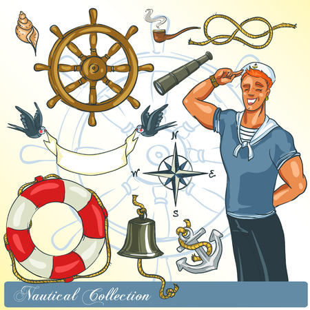 anchor man: Nautical Collection, set of objects and icons Illustration