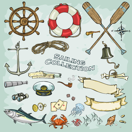 marinero: Colección náutica, conjunto de objetos e iconos