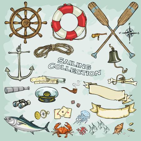 pecheur: Collection nautique, ensemble d'objets et des icônes