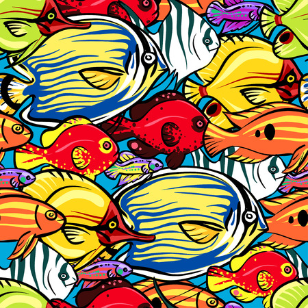 cruise cartoon: Coral reef Sea Life background, seamless pattern Illustration