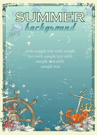 postcard: Summer beach background with sample text. Banner
