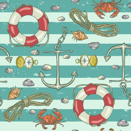 Nautical background, Vector seamless pattern, retro style