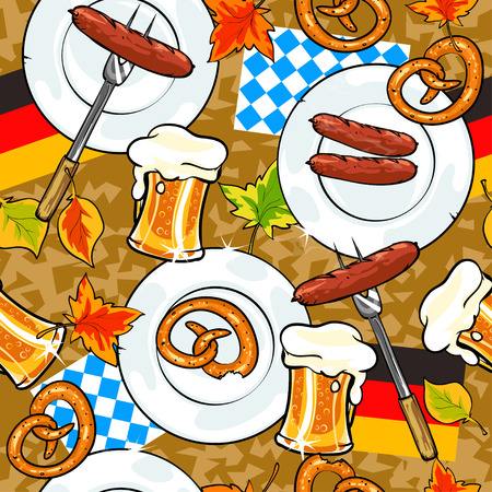 Oktoberfest seamless background with foods on a table