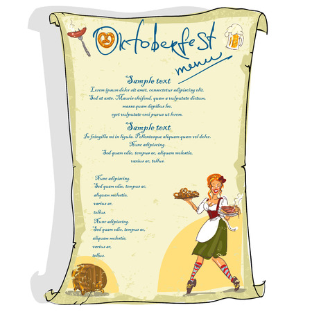 Oktoberfest poster with space for text, scroll Illustration