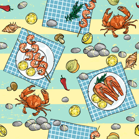 crab meat: Seafood Barbecue seamless pattern, Seafood Grill background