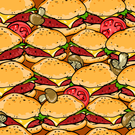 Seamless pattern with hamburgers, BBQ Grill background