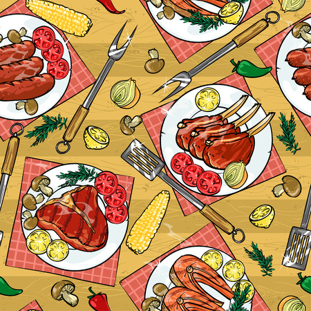Seamless food pattern, semless BBQ Grill background