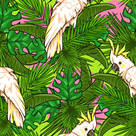 Seamless pattern with palm leaves and parrots, Tropical background