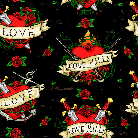 roses and hearts: Heart Tattoos seamless pattern, tattoo grunge background Illustration