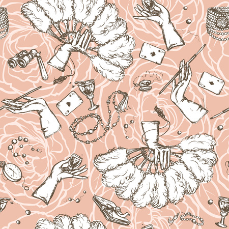 pattern vintage: Seamless vintage pattern with female hands and accessories on it