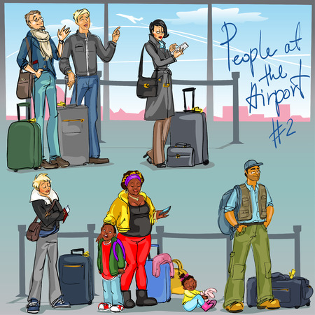 gates: People at Airport 2 - hand drawn set of people with luggage.