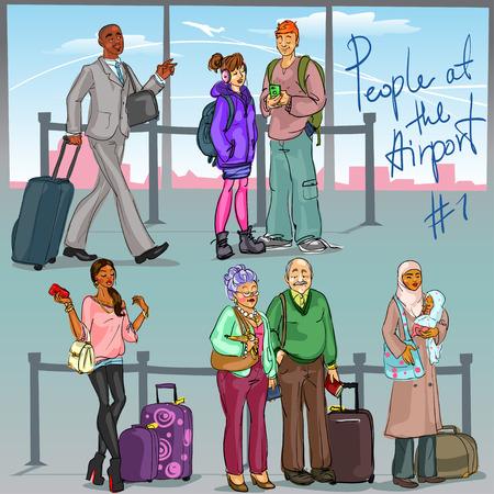afroamericanas: Las personas en el Aeropuerto 1 - mano conjunto elaborado de personas con equipaje. Vectores