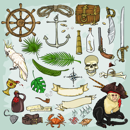 sombrero pirata: Colección Piratas. Conjunto de piratas elementos de diseño Vectores