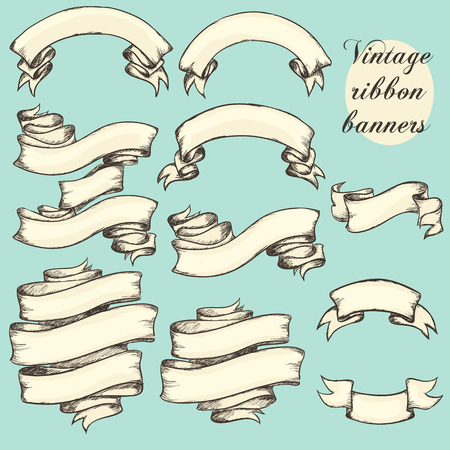 Vintage ribbon banners, hand drawn collection, set Çizim