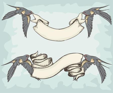 ツバメのリボン、バナー、鳥を保持手描き