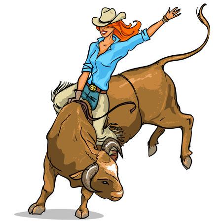 Cowgirl rijdt op een stier, geïsoleerd op wit