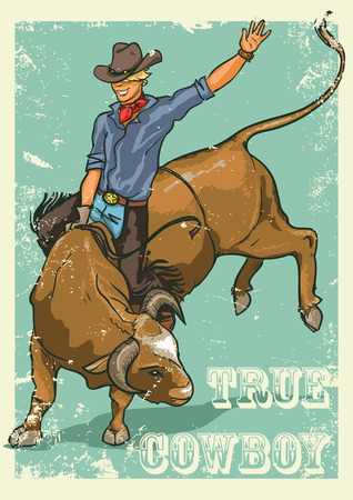 bucking bronco: Rodeo Cowboy riding a bull, Retro style Poster. Sample text and grunge effect are removable