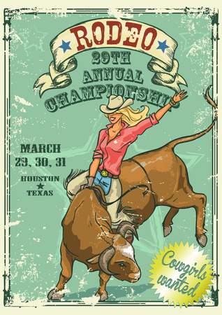 old west: Rodeo Cowgirl riding a bull, Retro style Poster. Sample text and grunge effect are removable