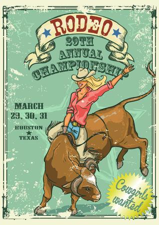toros bravos: Vaquera del rodeo que monta un toro, cartel de estilo retro. Texto de la muestra y el efecto del grunge son removibles Vectores