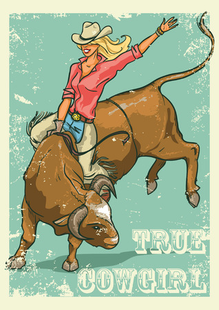 cowgirl: Rodeo Cowgirl riding a bull, Retro style Poster. Sample text and grunge effect are removable