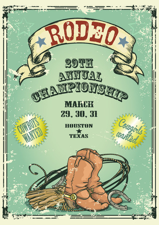 cowgirl and cowboy: Retro style rodeo. Sample text and grunge effect are removable Illustration