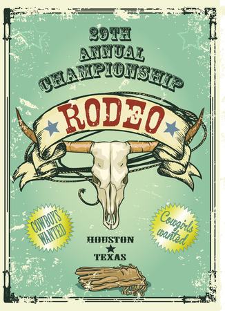 animals in the wild: Retro style rodeo. Sample text and grunge effect are removable Illustration