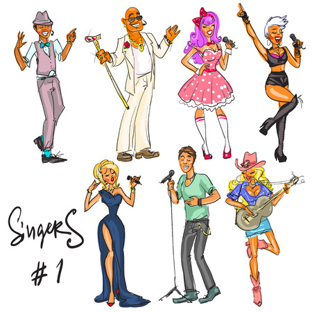 clip art women: Singers - part 1. Hand drawn collection of artists representing different music styles