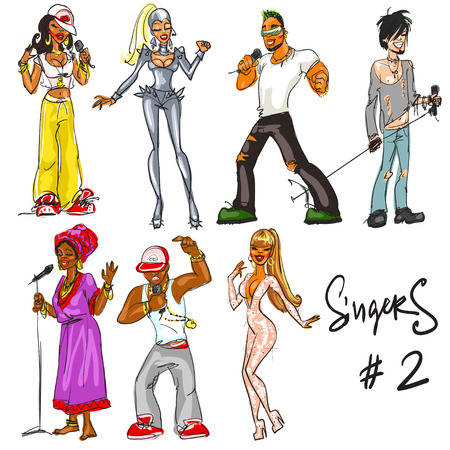 Singers - part 2. Hand drawn collection of artists representing different music styles