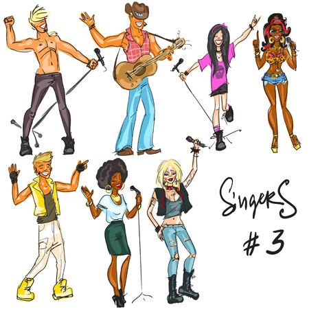 estrella caricatura: Cantantes - parte 3. Mano dibujada colección de artistas que representan diferentes estilos musicales