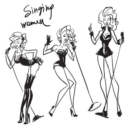 showgirl: Hand drawn singing women, sketching, drafts