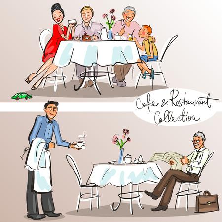 Mensen bij café en restaurant - de hand getekende collectie. Kleurrijke versie.