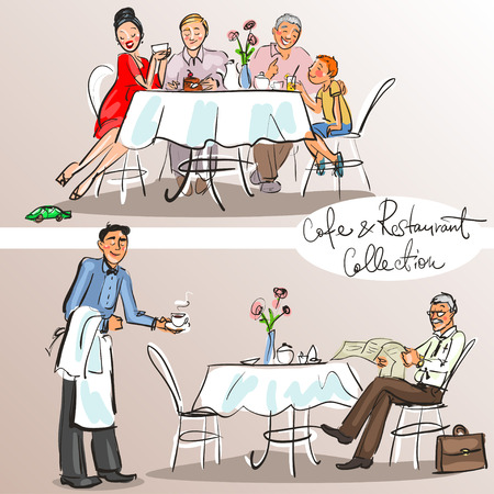people eating: People at cafe and restaurant - Hand drawn Collection. Colorful version.