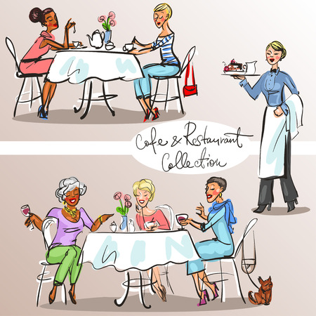 People at cafe and restaurant - Hand drawn Collection. Colorful version, part 2