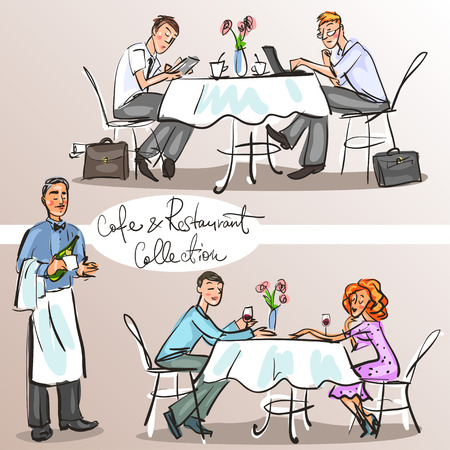 business woman laptop: People at cafe and restaurant - Hand drawn Collection. Colorful version, part 3