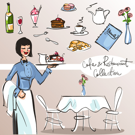 a table: People at cafe and restaurant - Hand drawn Collection. Colorful version, part 4 Illustration