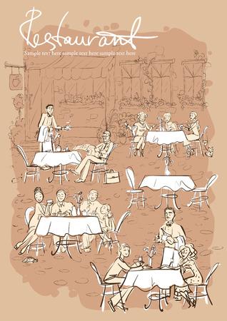 pareja comiendo: La gente en el restaurante, cafetería al aire libre - Dibujado a mano vertical de fondo con texto de ejemplo
